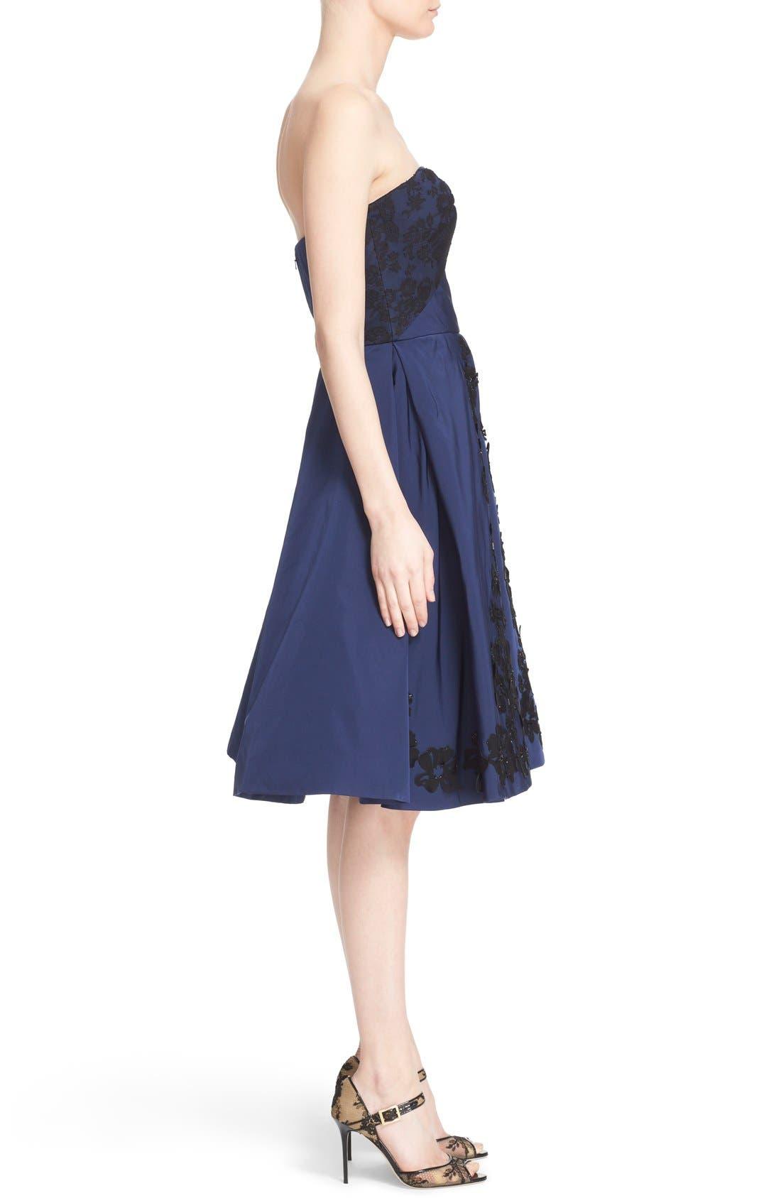 Alternate Image 4  - Oscar de la Renta Floral Embellished Strapless Fit & Flare Dress