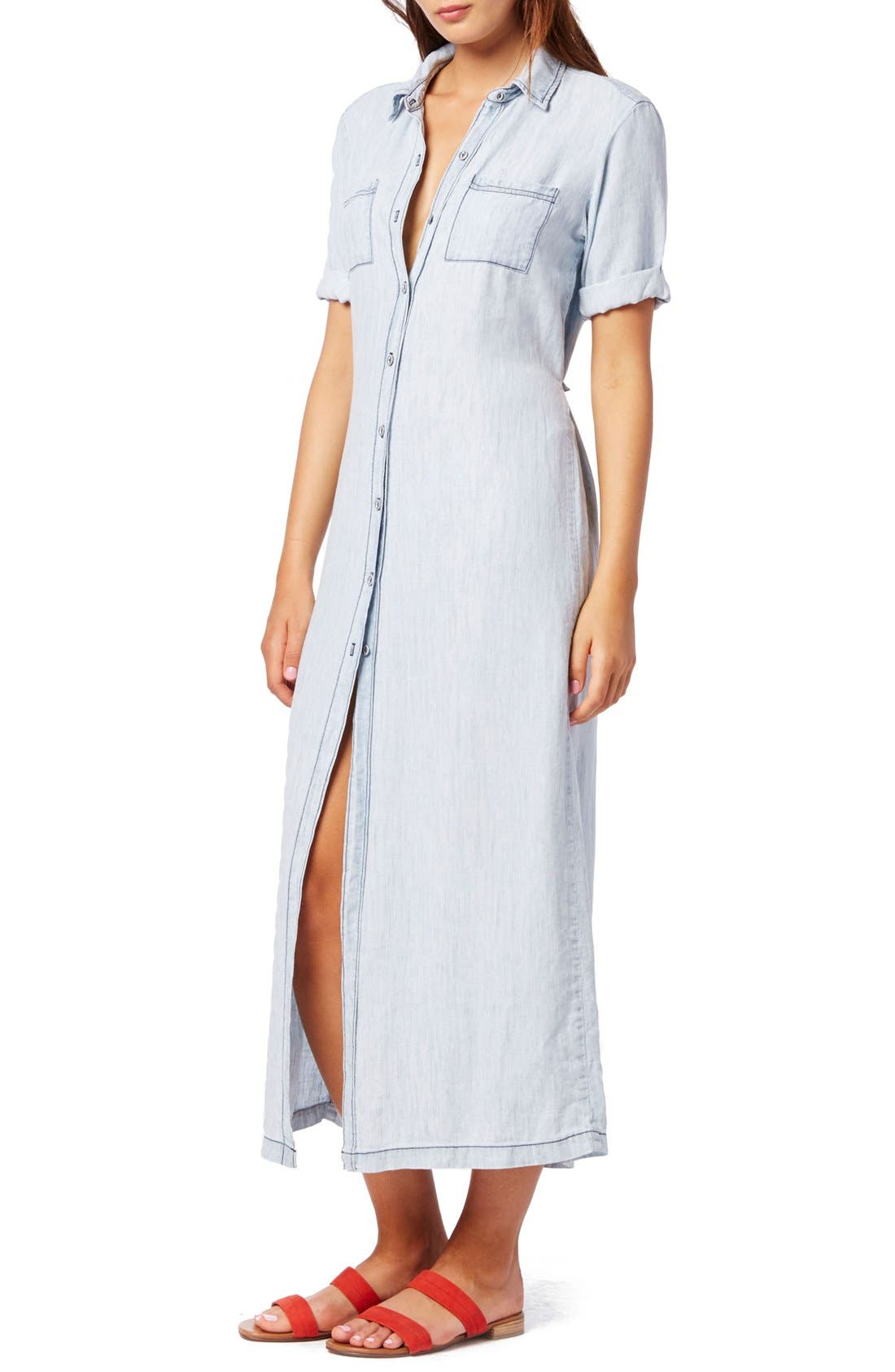 Alternate Image 3  - Michael Stars Button Front Chambray Maxi Dress