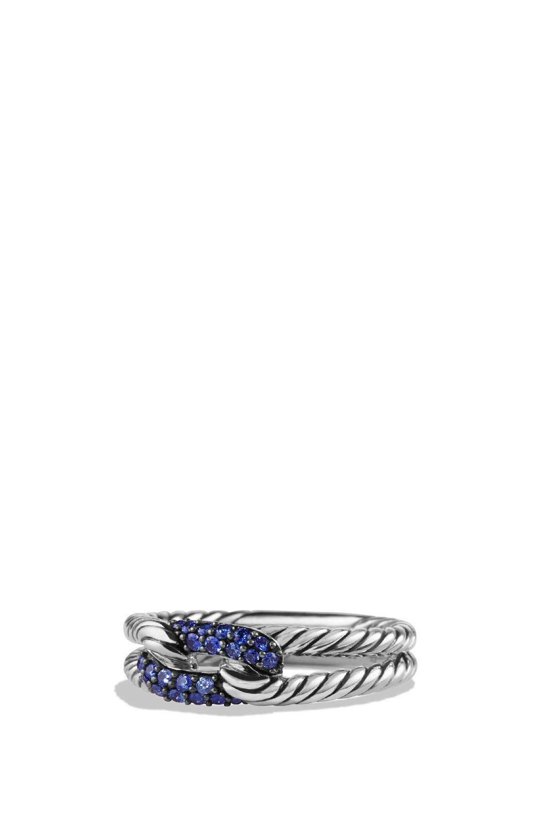 David Yurman 'Petite Pavé' Loop Ring with Sapphires