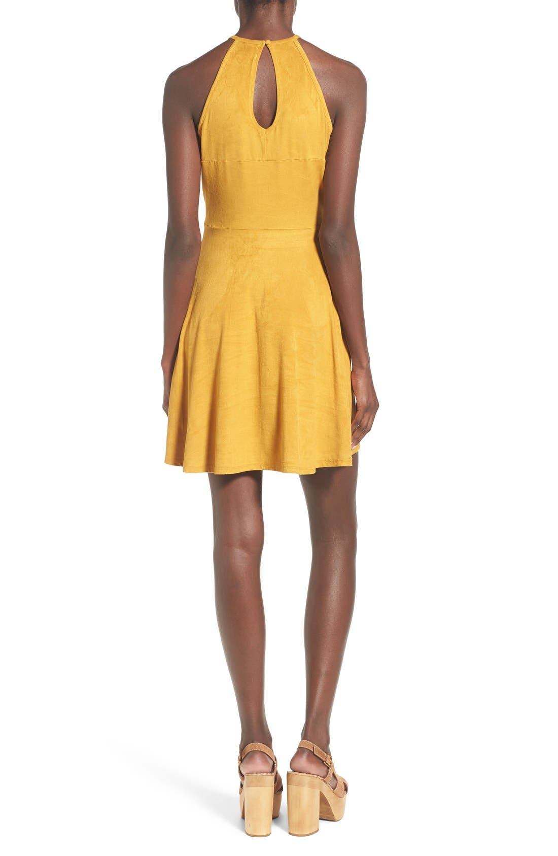 Alternate Image 2  - Love, Fire High Neck Faux Suede Skater Dress