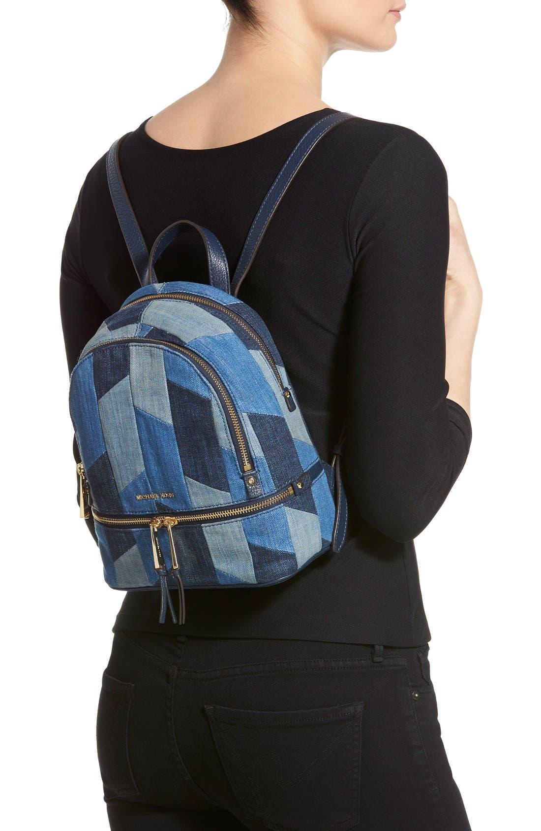 Alternate Image 2  - Michael Kors 'Small Rhea Zip' Denim Backpack