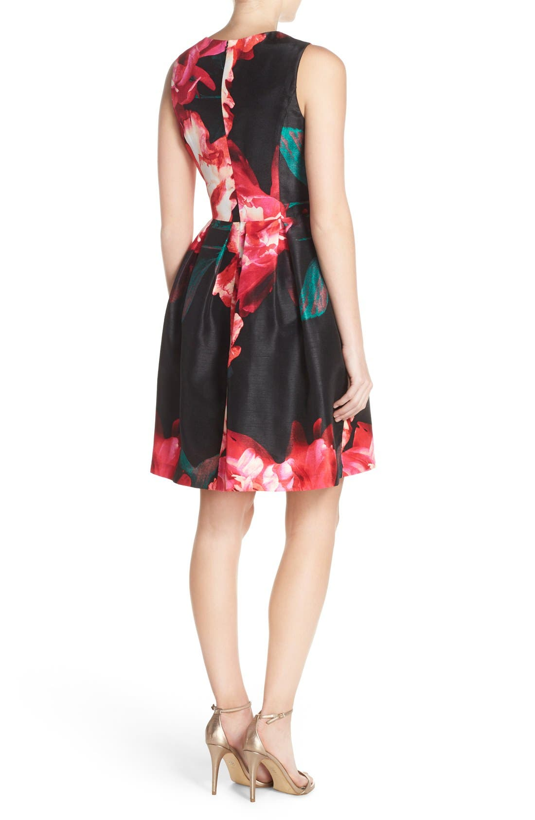 Alternate Image 2  - Donna Ricco Floral Shantung Fit & Flare Dress