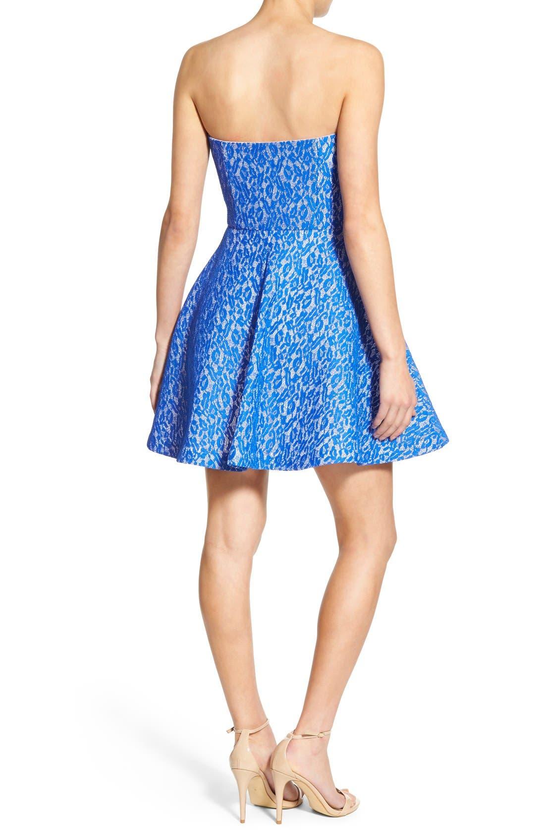 Alternate Image 2  - Soloiste Lace Strapless Skater Dress