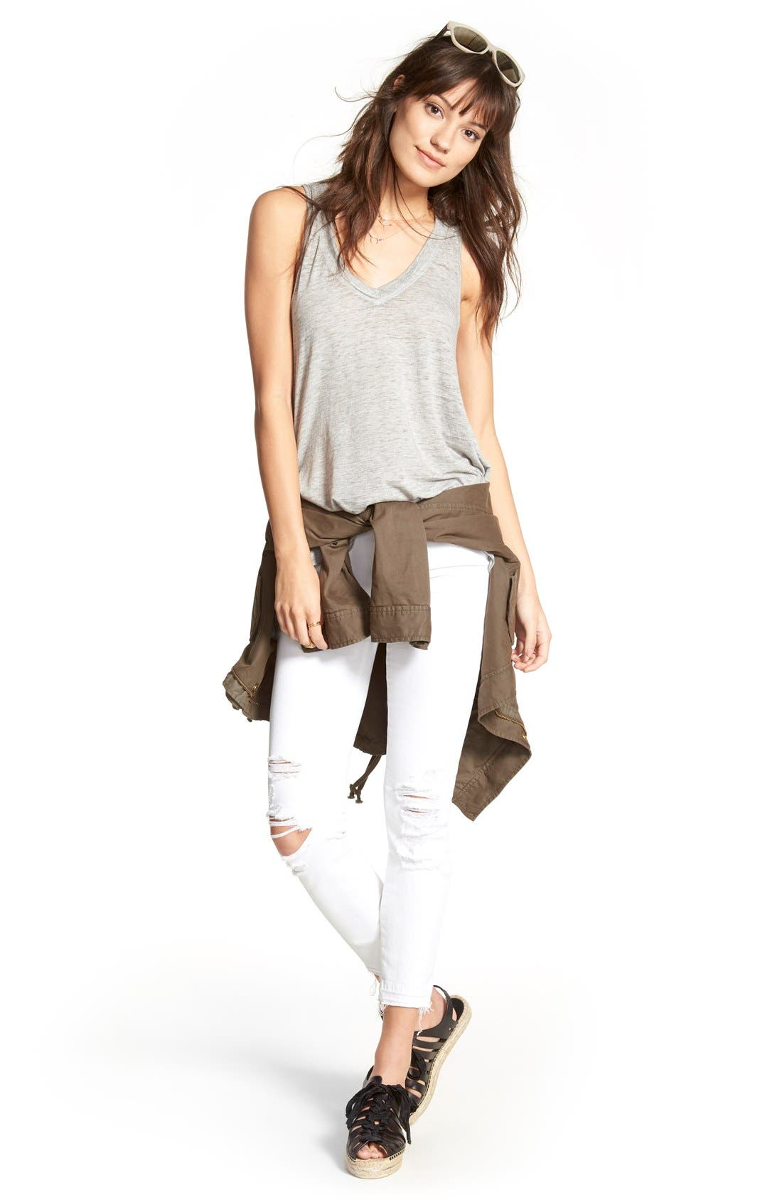 Alternate Image 2  - J Brand Low Rise Crop Jeans (Demented White Distressed)