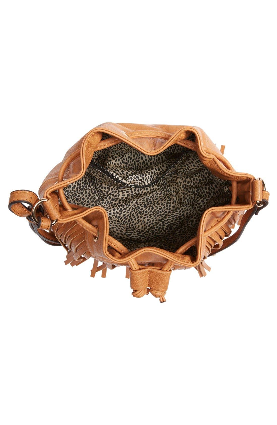 Alternate Image 4  - Sole Society Mini Fringe Faux Leather Bucket Bag