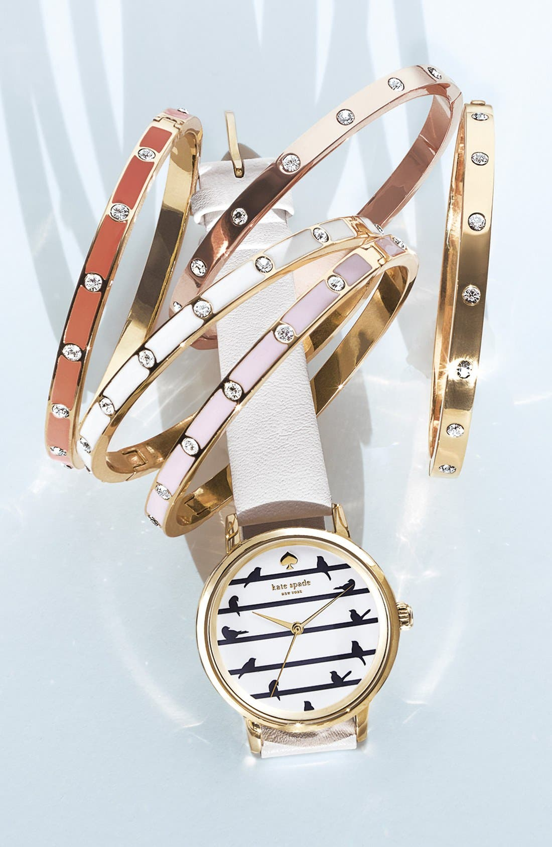 Alternate Image 5  - kate spade new york 'birds on a wire - metro' leather strap watch, 34mm