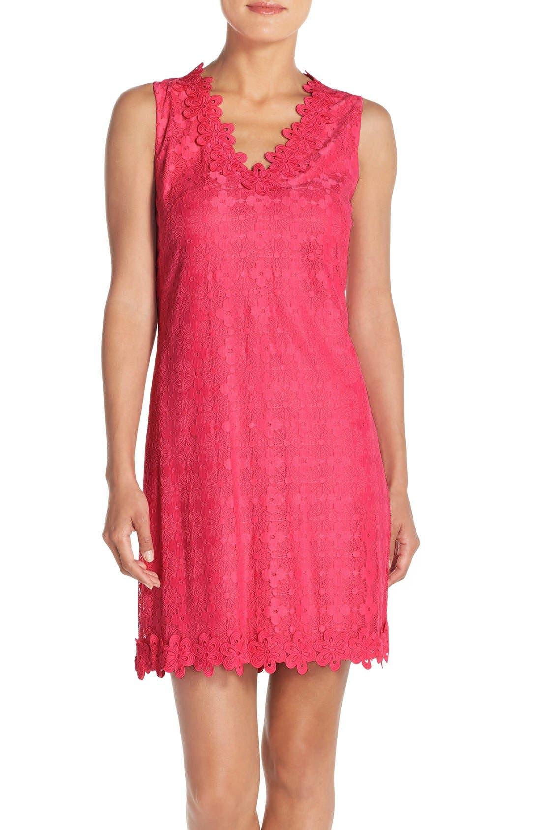 Main Image - London Times Floral Lace Shift Dress