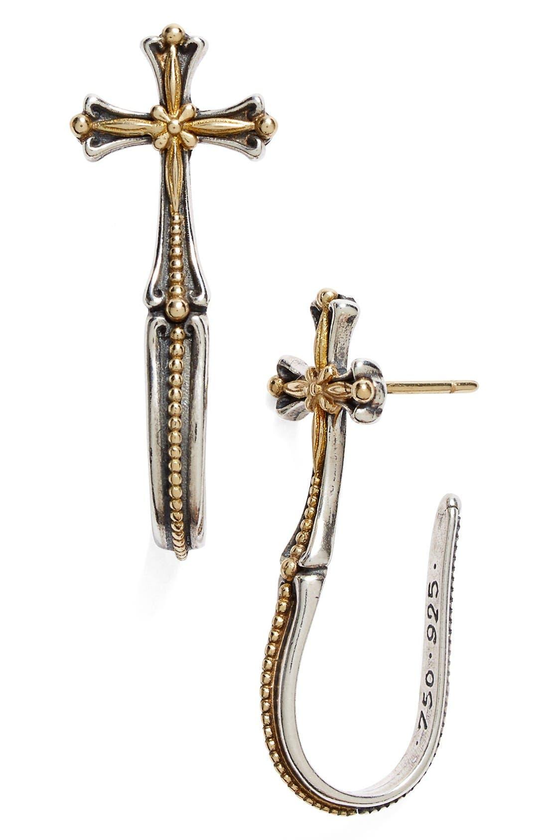 Konstantino 'Hebe' Cross J-Hoop Earrings