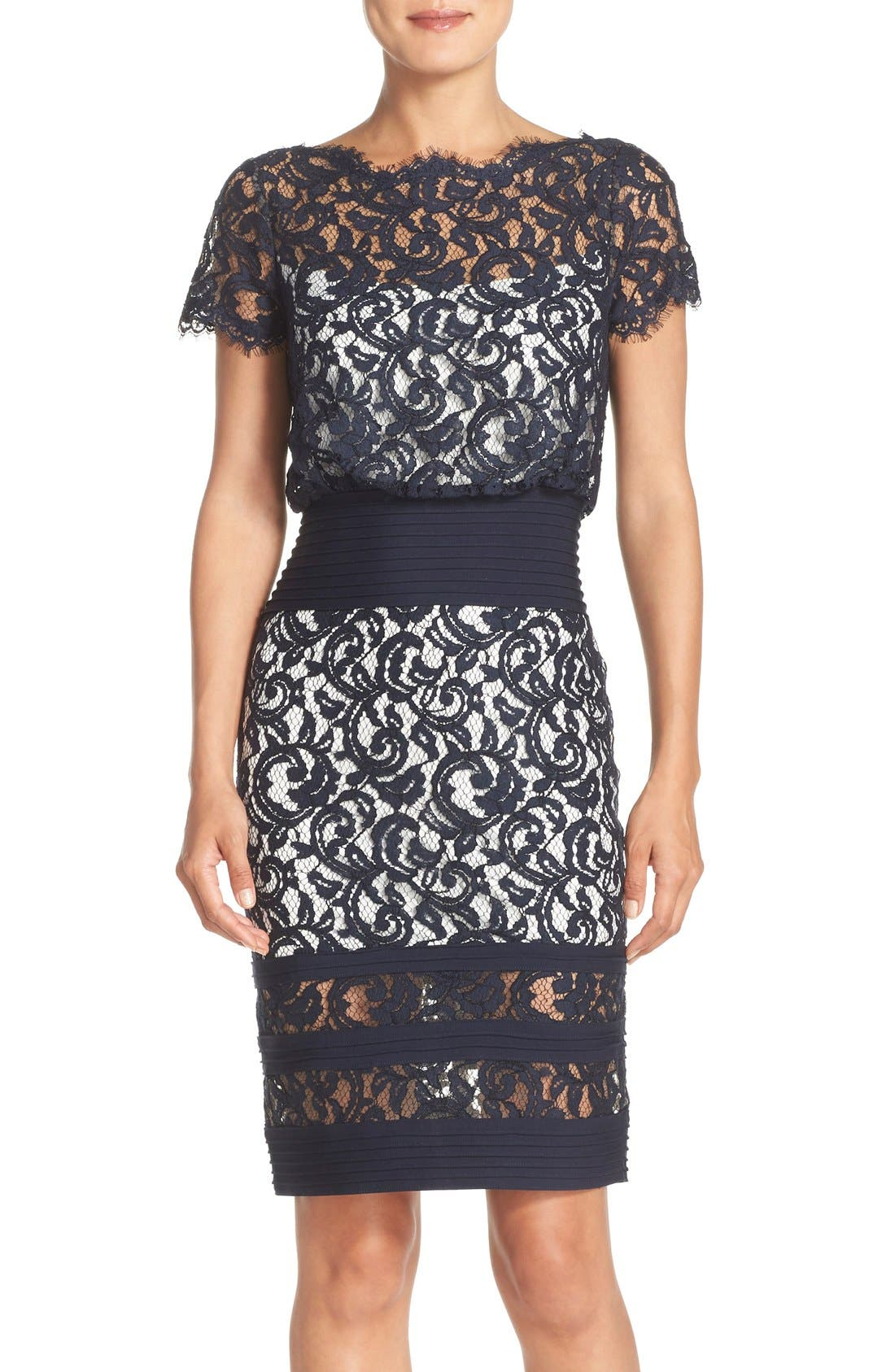 Main Image - Tadashi Shoji Mixed Media Blouson Dress (Regular & Petite)
