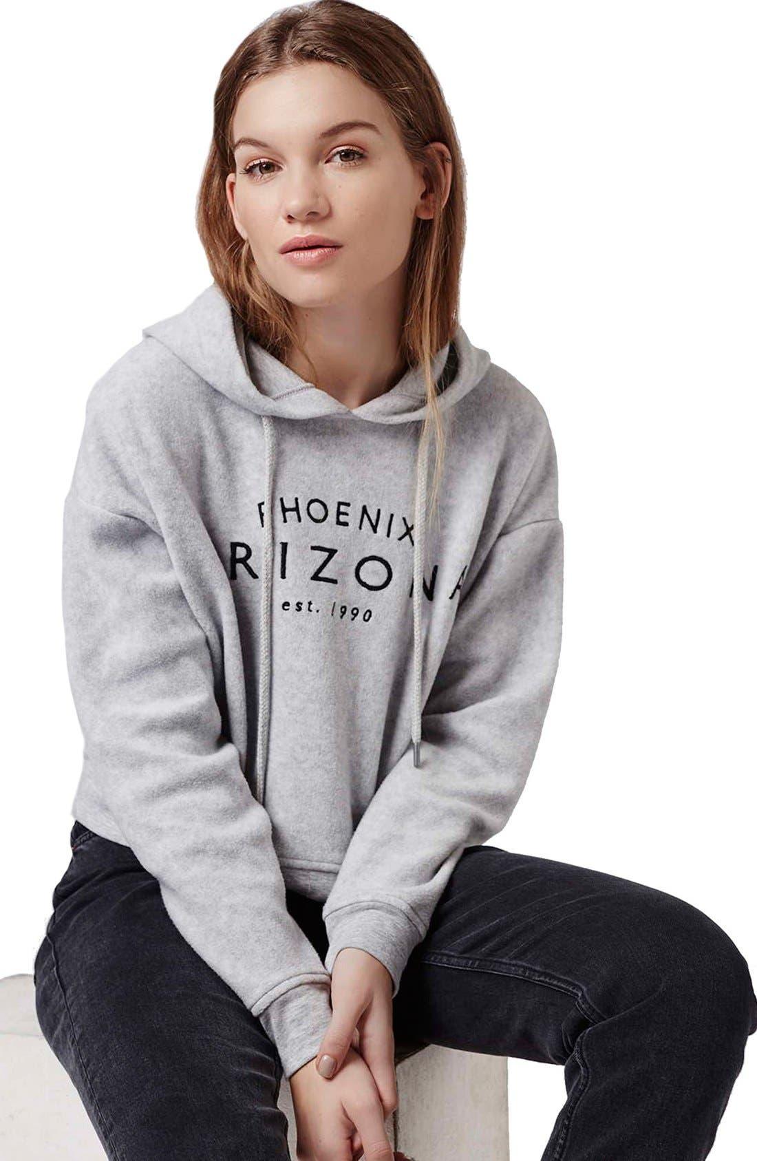 Alternate Image 5  - Topshop 'Arizona' Embroidered Brushed Fleece Hoodie