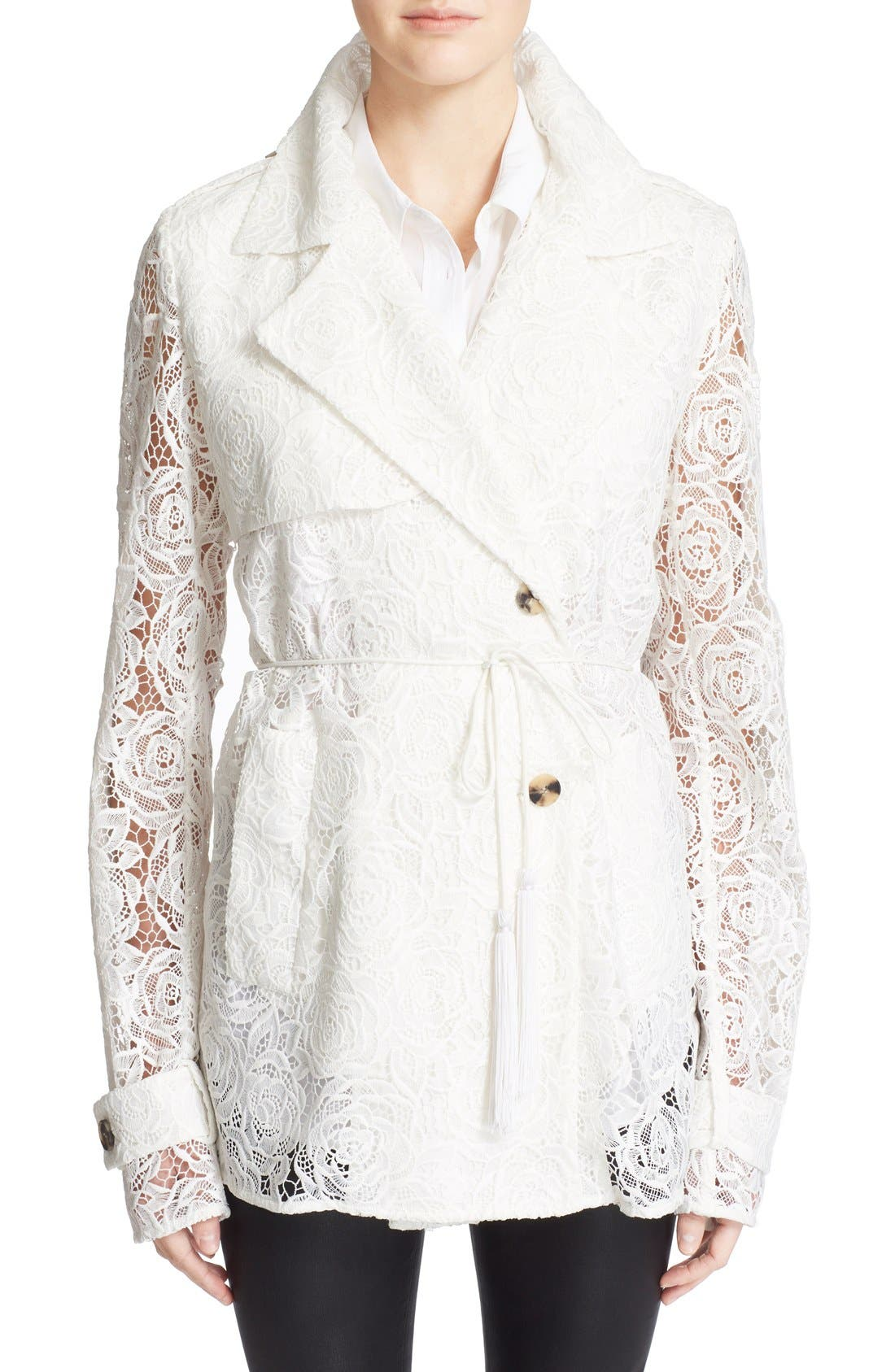 Main Image - McQ Alexander McQueen Drawstring Floral Lace Trench