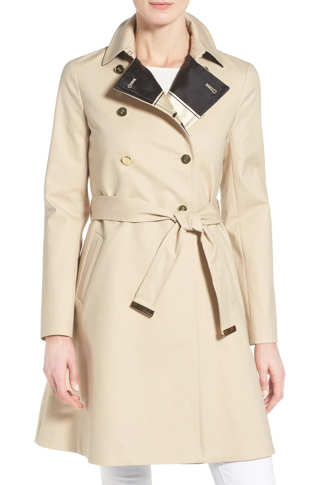 Main Image - Ted Baker London Belted A-Line Macintosh Coat