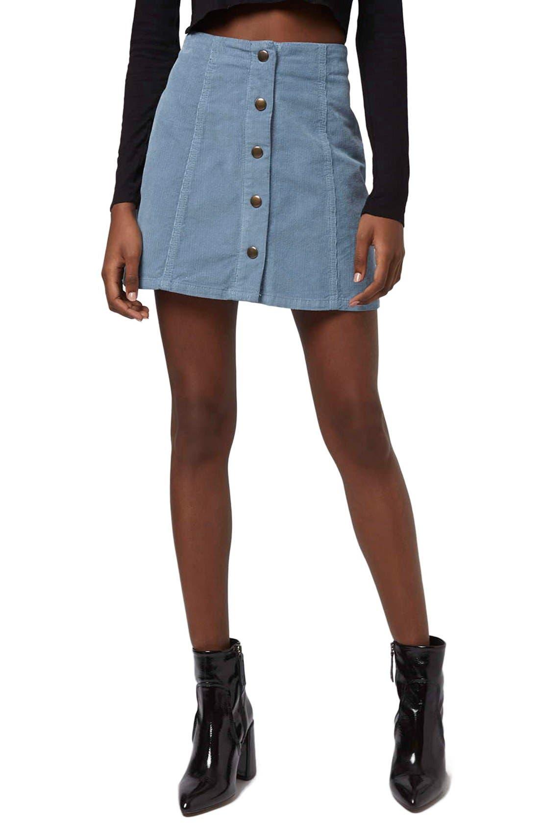 Main Image - Topshop A-Line Corduroy Skirt