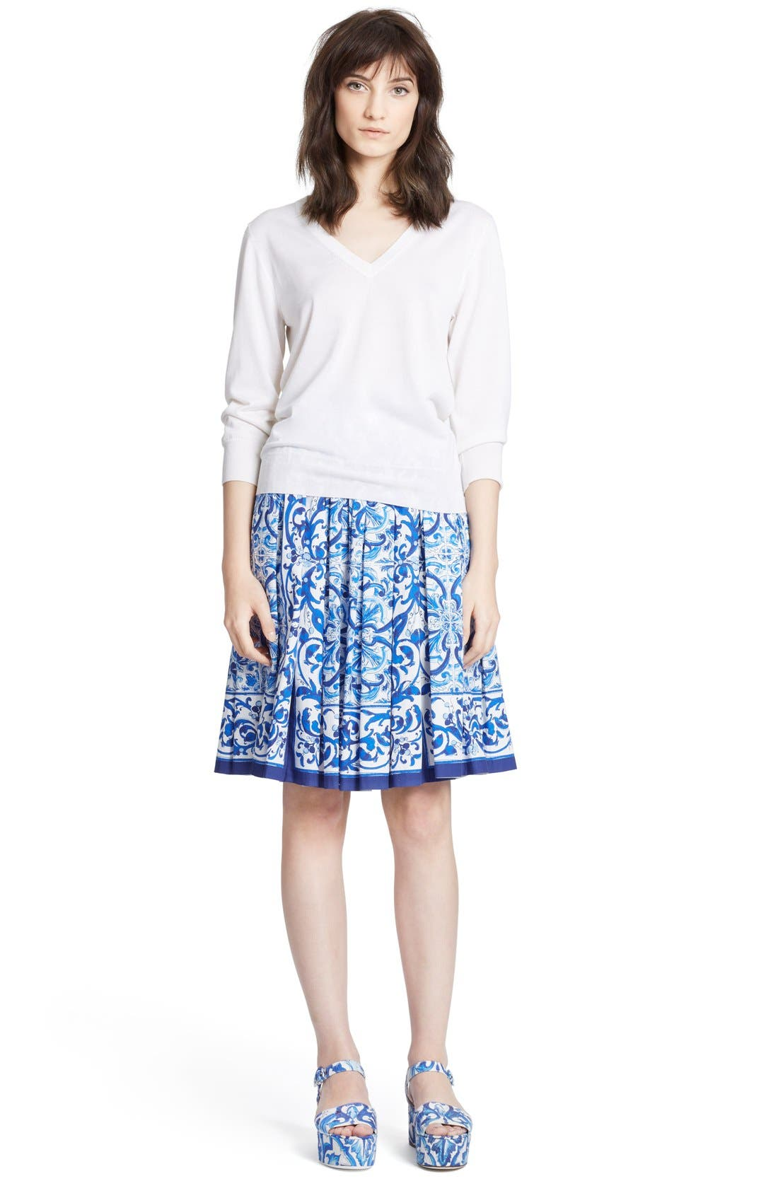 Alternate Image 4  - Dolce&Gabbana V-Neck Cashmere & Silk Sweater