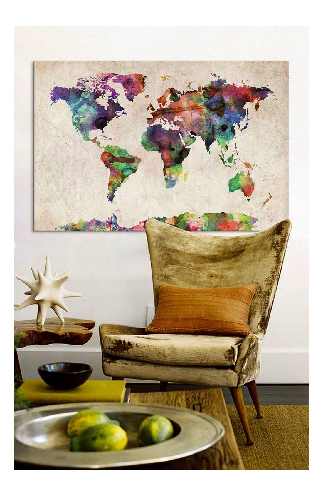 Alternate Image 2  - iCanvas 'World Map Urban - Michael Thompsett' Giclée Print Canvas Art
