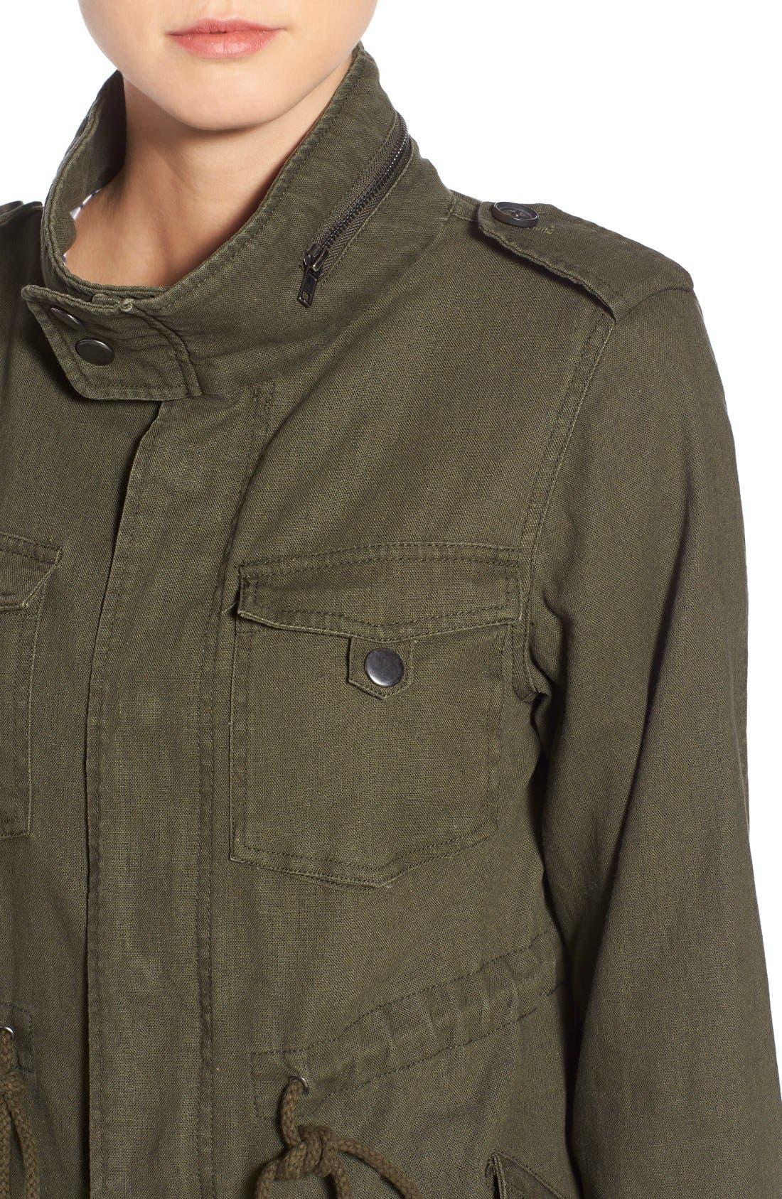 Alternate Image 4  - Pleione Linen & Cotton Blend Military Jacket (Regular & Petite)