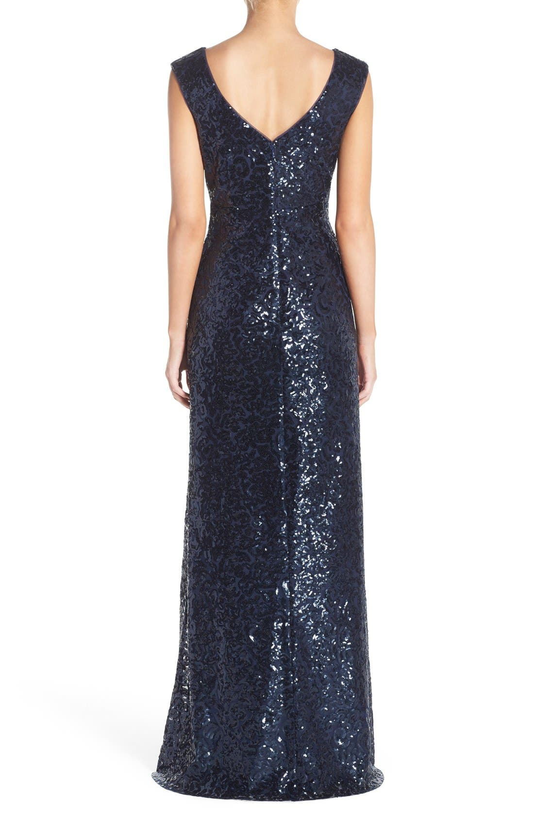 Alternate Image 2  - Donna Morgan 'Evie' Sequin Bateau Neck A-Line Gown