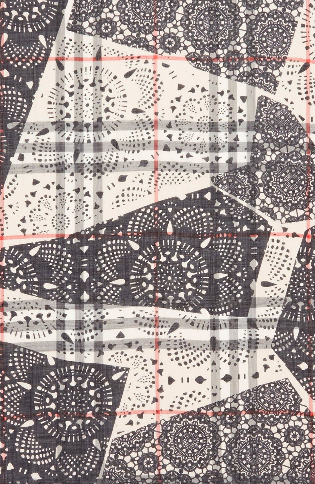 Alternate Image 3  - Burberry Lace Patchwork & Check Print Wool & Silk Scarf