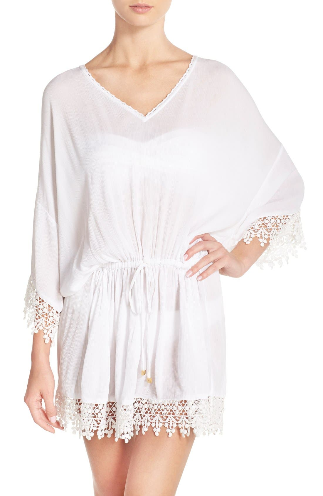 Alternate Image 1 Selected - Tory Burch 'Treville' Crochet Trim Caftan Tunic