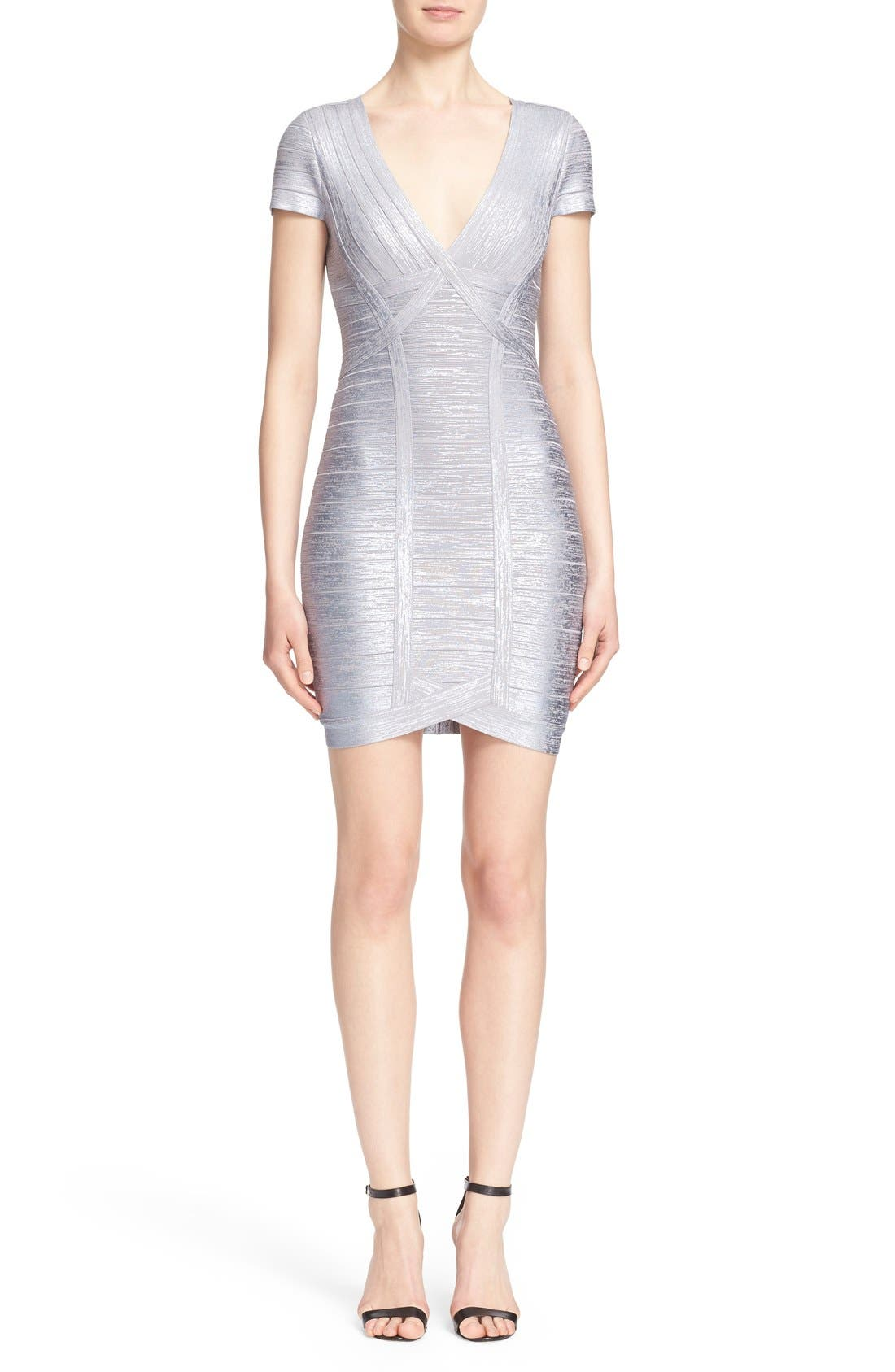 Alternate Image 1  - Herve Leger 'Klaudia' Woodgrain Metallic Foil Dress