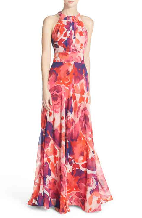 Eliza J Floral Print Halter Maxi Dress (Regular   Petite)