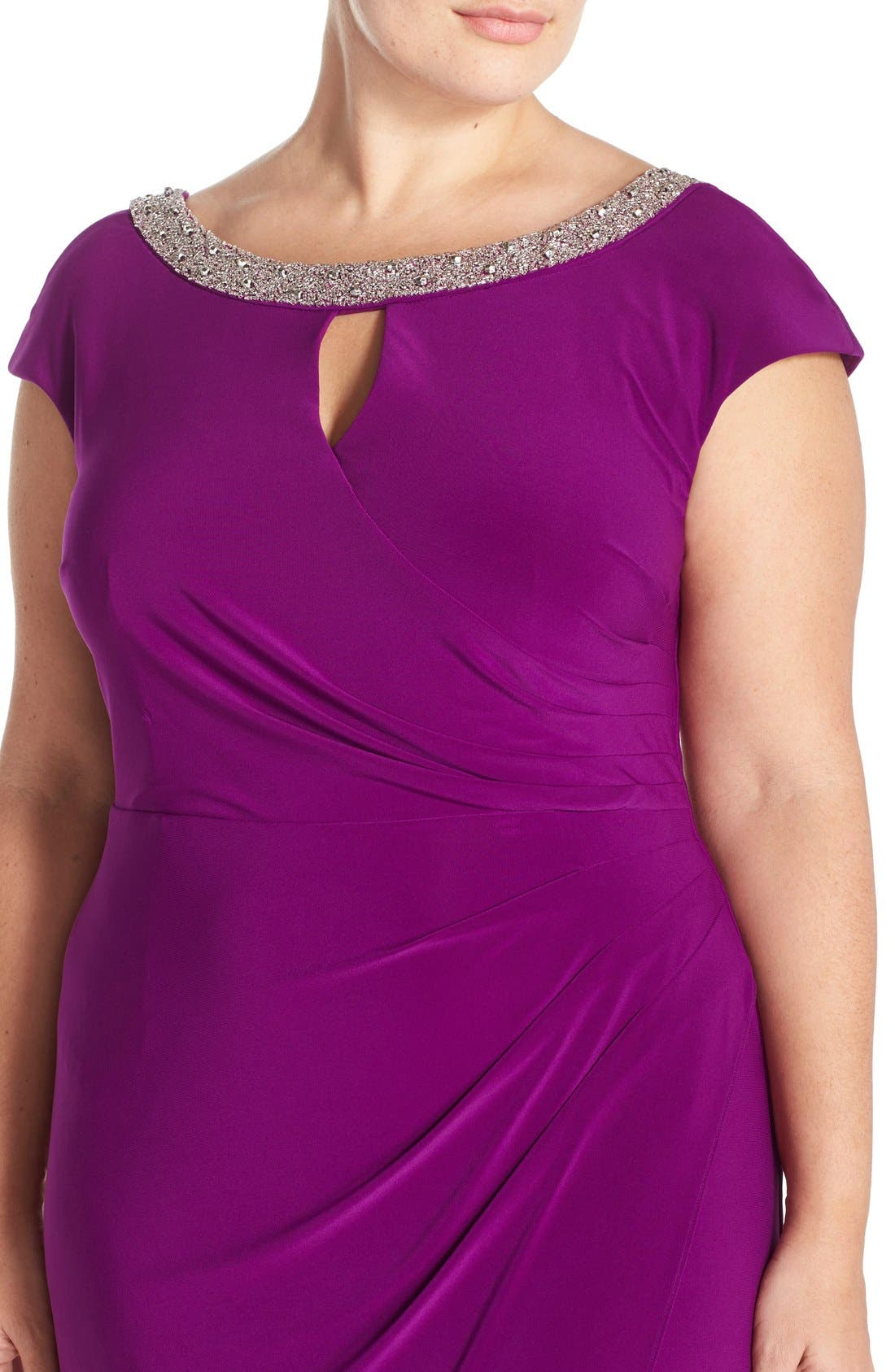 Alternate Image 4  - Alex Evenings Beaded Matte Jersey Sheath Dress (Plus Size)