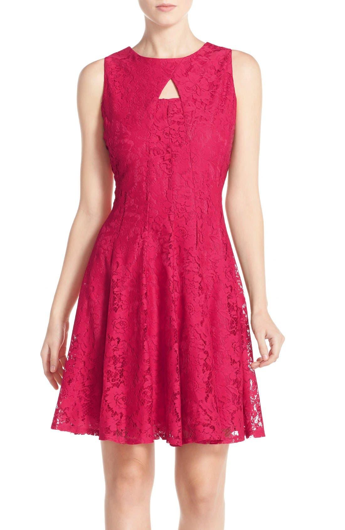 Alternate Image 1 Selected - Gabby Skye Keyhole Neck Lace Fit & Flare Dress