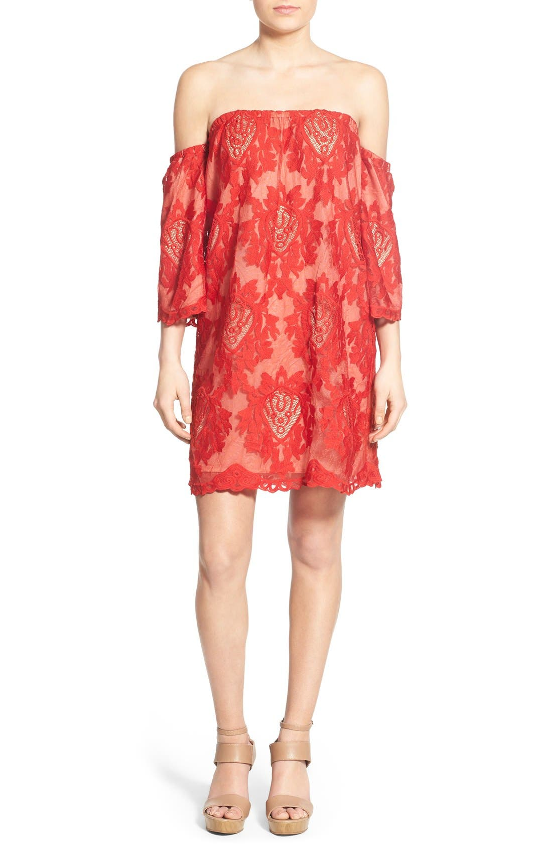 Alternate Image 1 Selected - Storee Lace Off the Shoulder Dress
