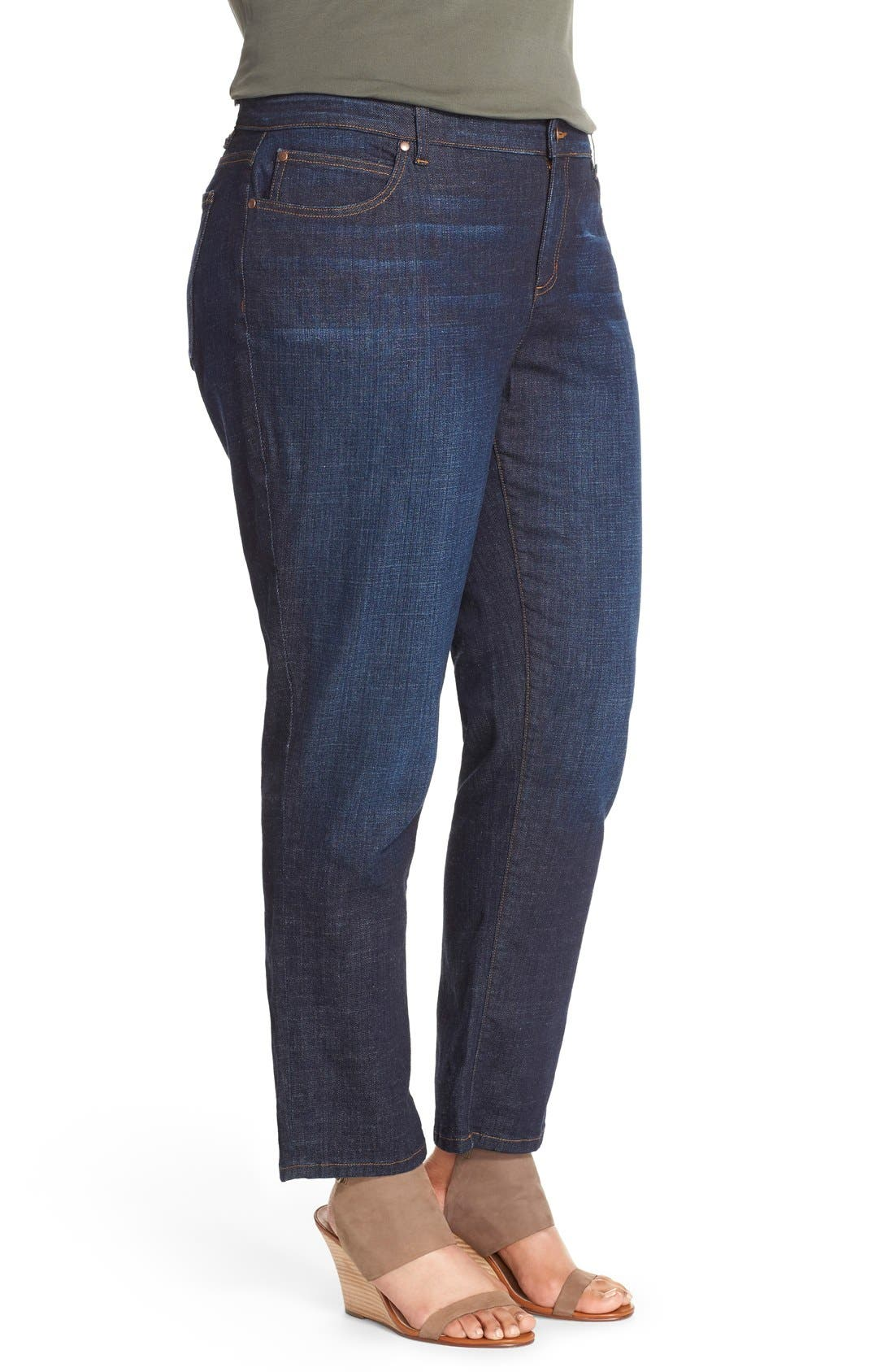 Alternate Image 3  - Eileen Fisher Straight Leg Crop Jeans (Plus Size)