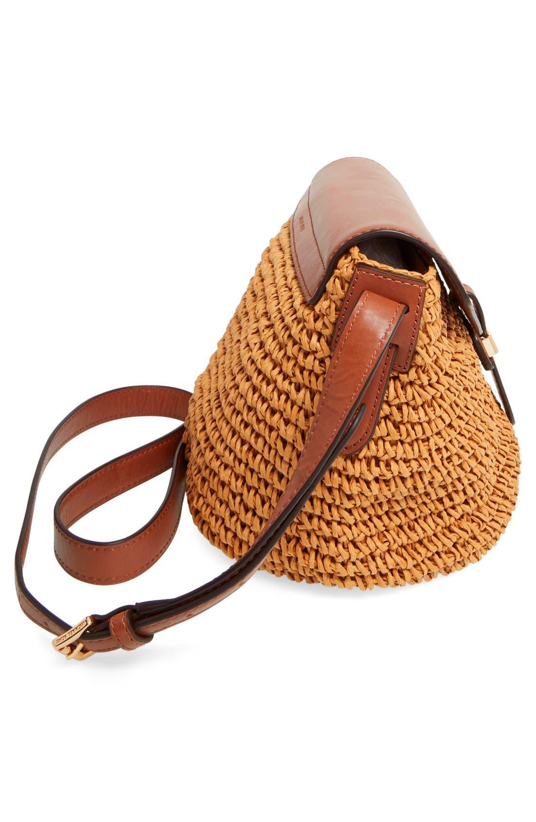 Alternate Image 5  - MICHAEL Michael Kors 'Medium Naomi' Straw & Leather Messenger Bag