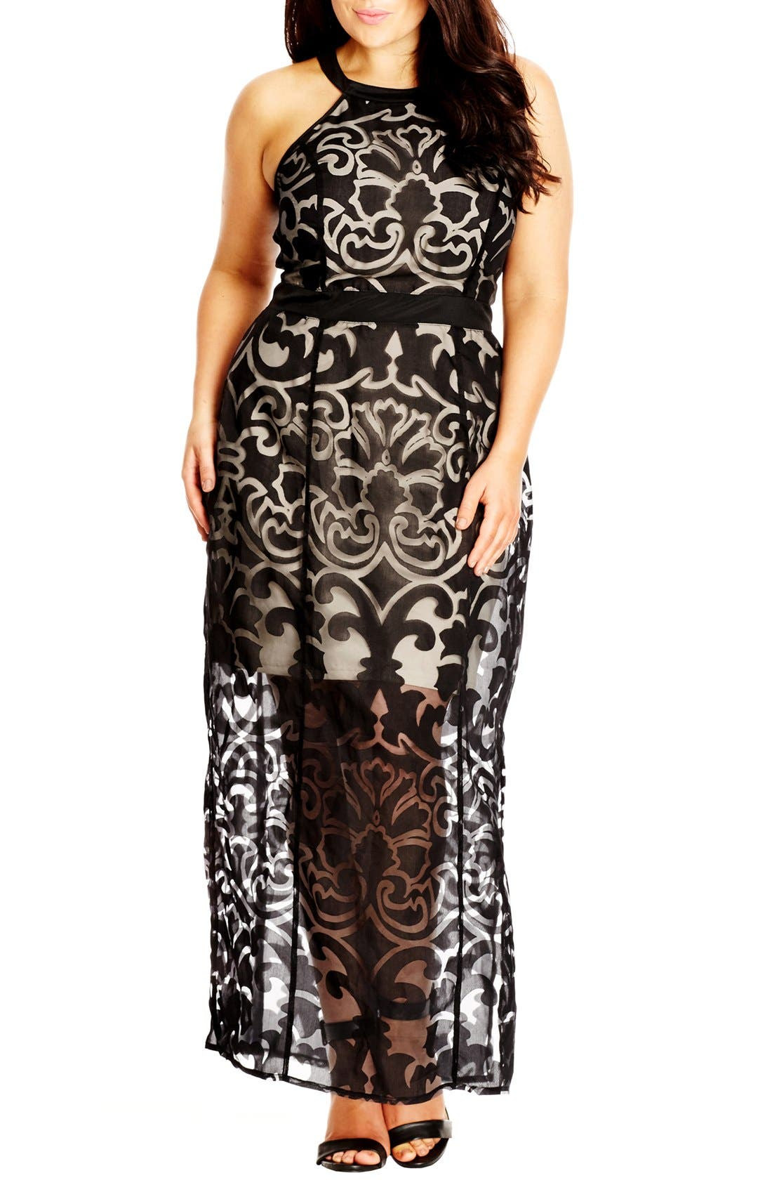 CITY CHIC 'Burnout Baby' Maxi Dress