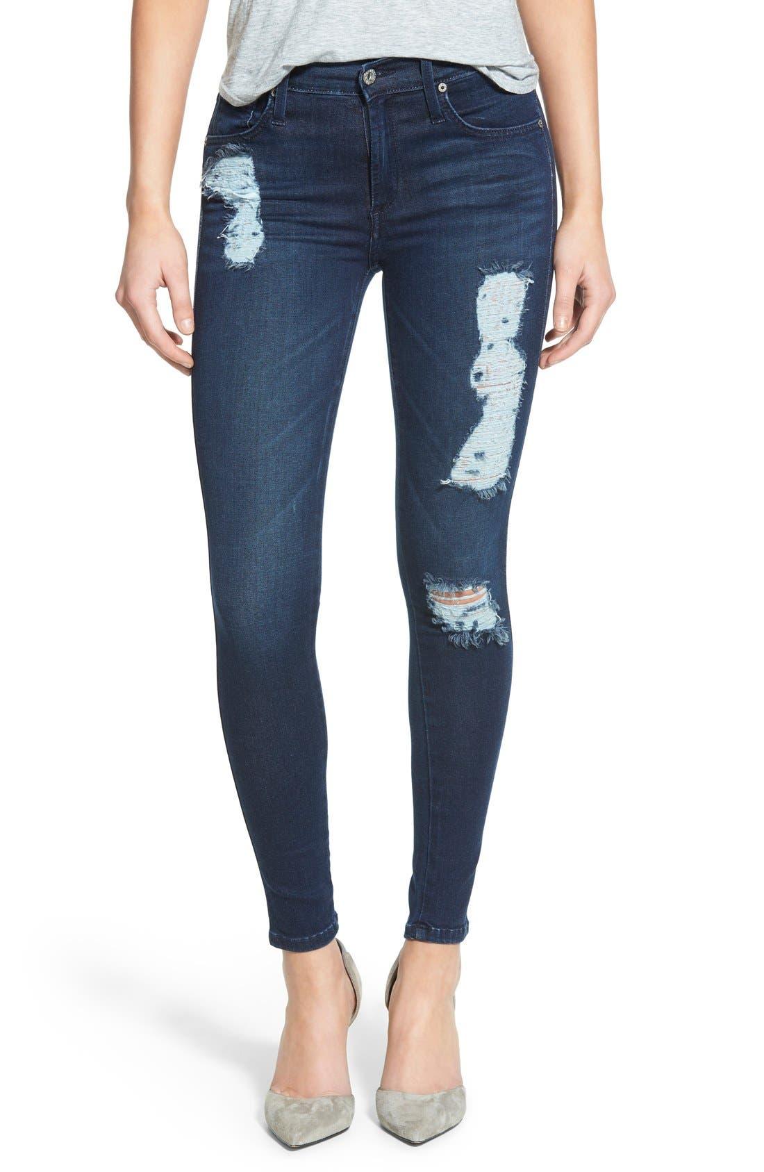 Alternate Image 1 Selected - James Jeans Ankle Five-Pocket Denim Leggings