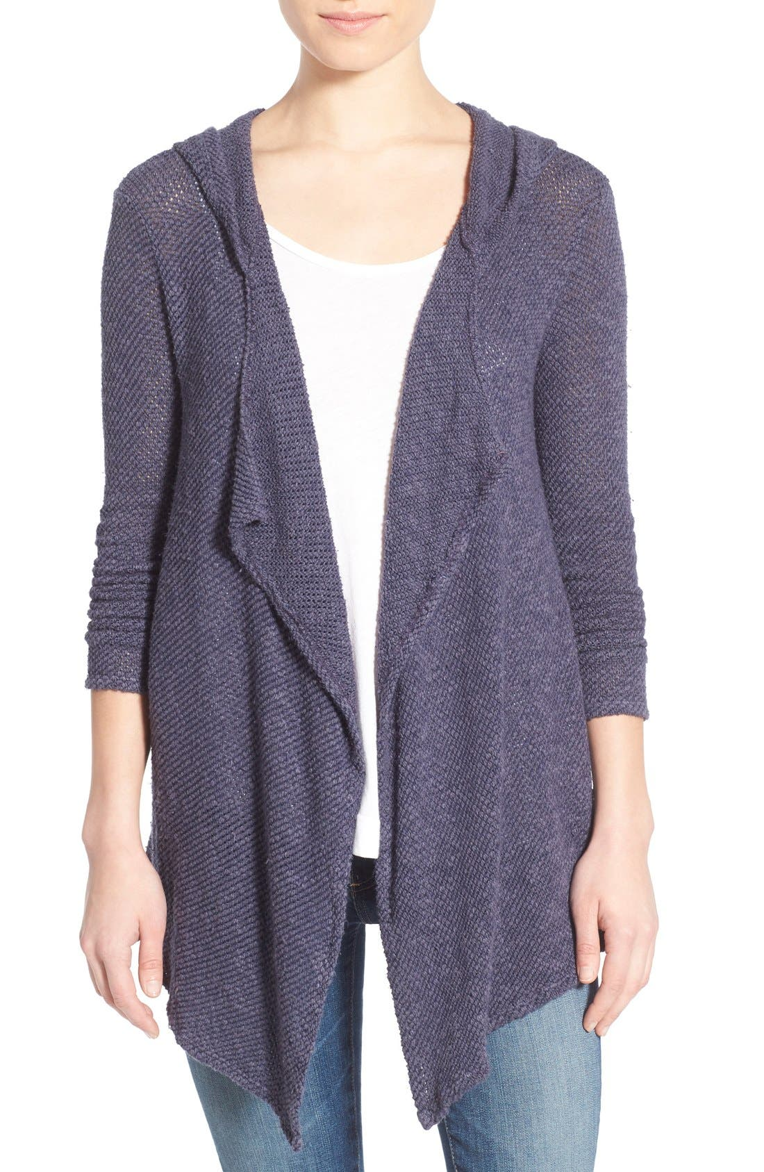 Alternate Image 1 Selected - Velvet by Graham & Spencer Hooded Drape Front Cardigan