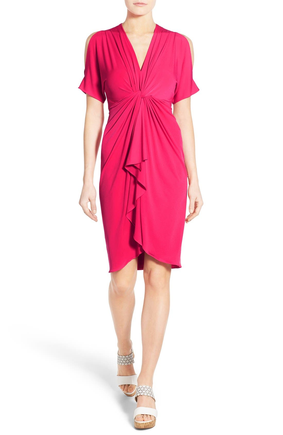 Main Image - Catherine Catherine Malandrino 'Emily' Cold Shoulder Twist Front Dress
