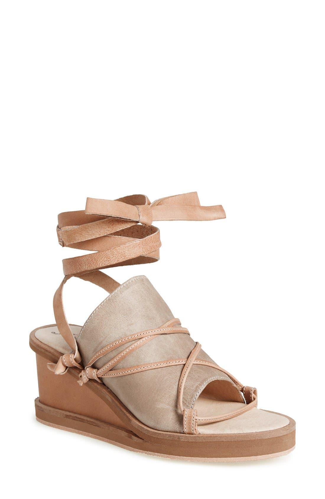 Alternate Image 1 Selected - Free People 'Bowery' Ankle Tie Wedge Sandal