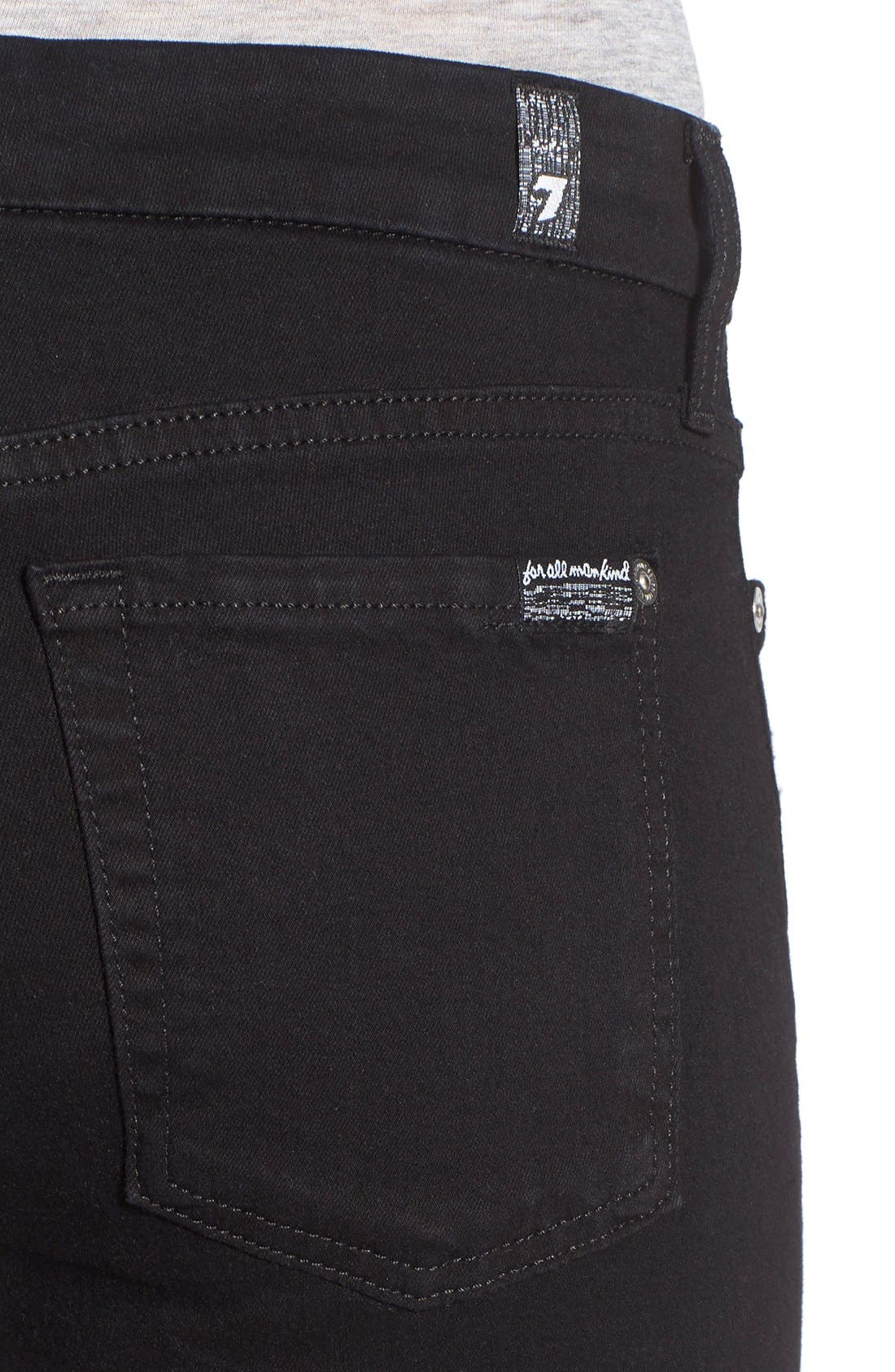 Alternate Image 4  - 7 For All Mankind® Destroyed Ankle Skinny Jeans (Slim Illusion Luxe Black)