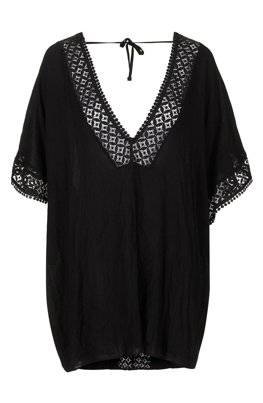 Alternate Image 4  - Topshop Double V-Neck Lace Trim Cover-Up Caftan