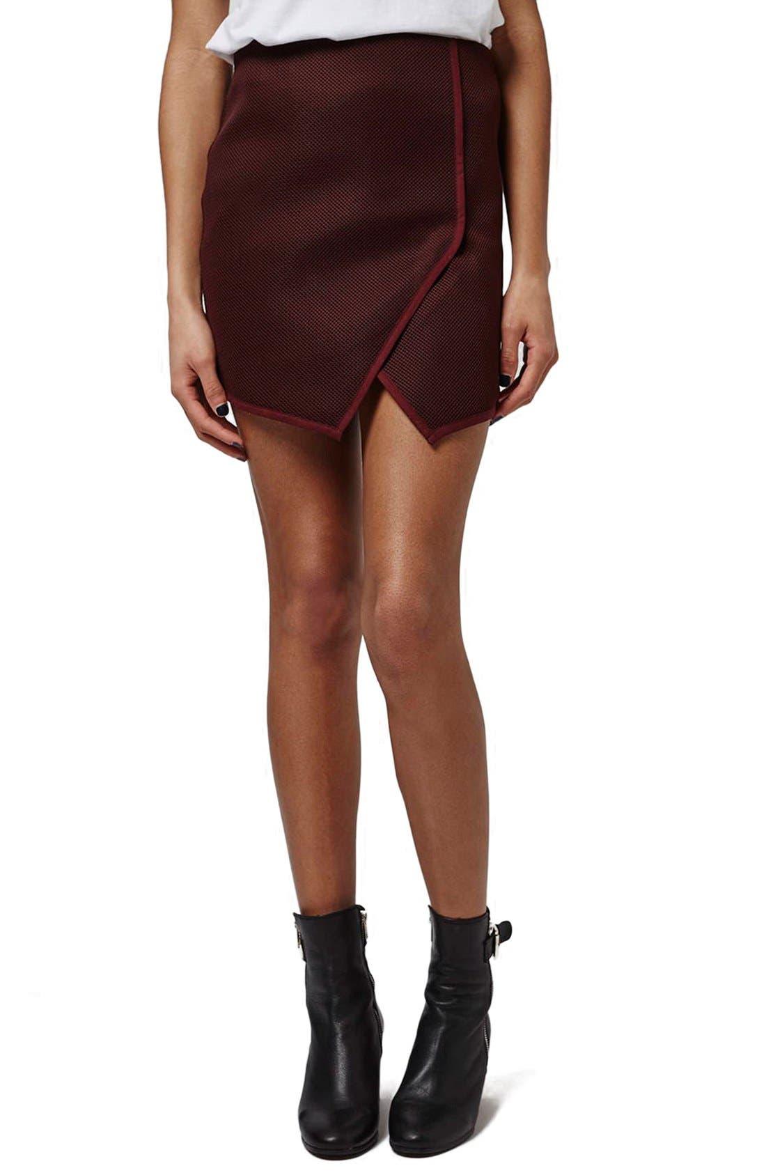 Main Image - Topshop Angled Wrap Airtex Miniskirt