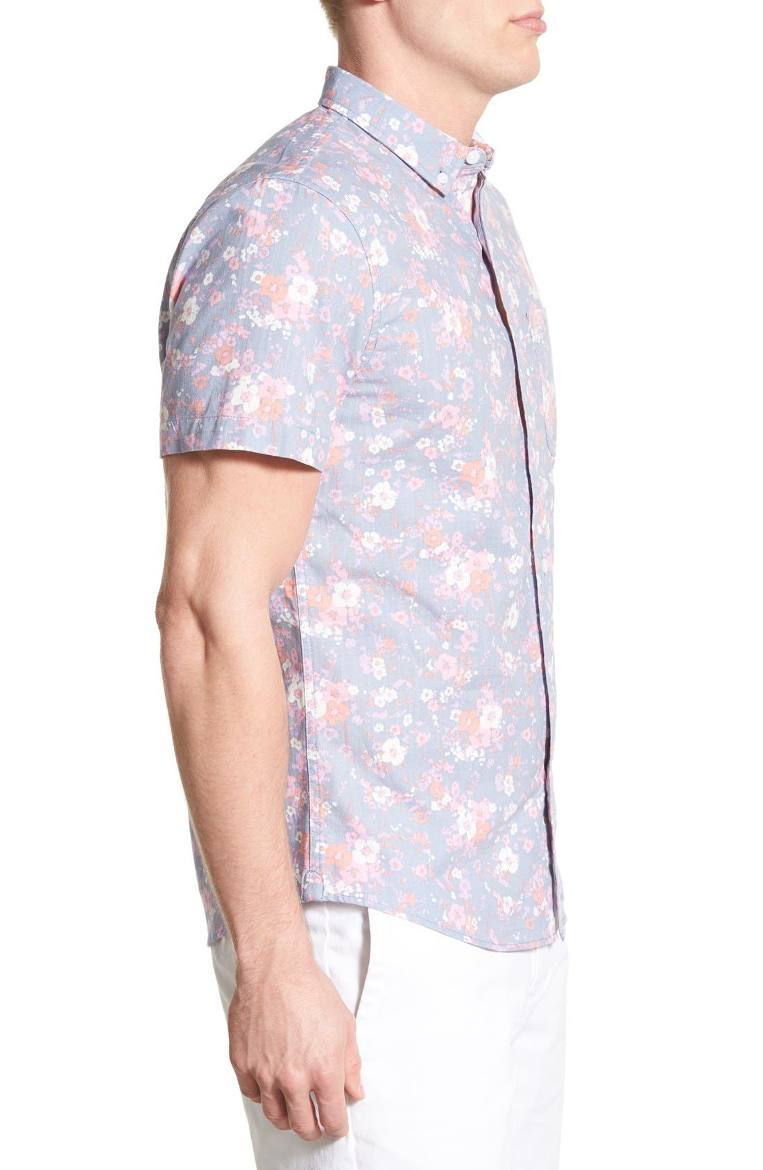 Alternate Image 3  - 1901 'Gifford' Trim Fit Short Sleeve Floral Print Chambray Shirt