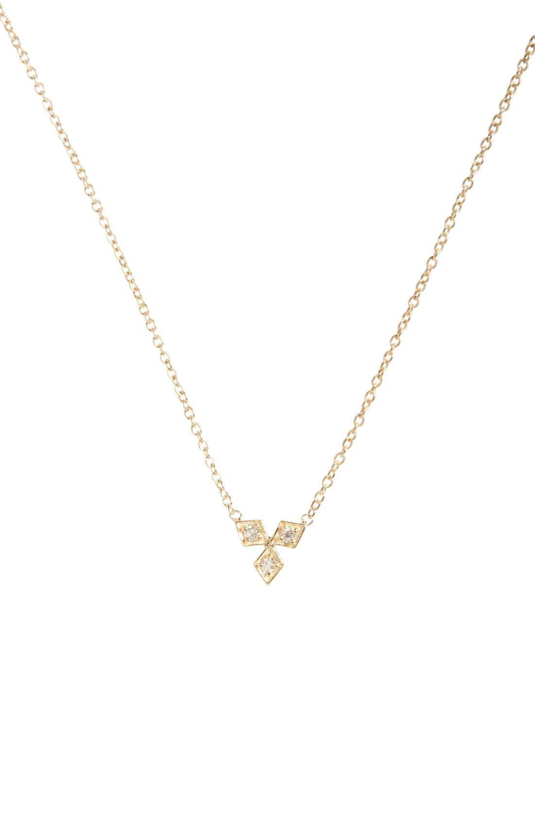 Zoë Chicco Three-Diamond Pendant Necklace