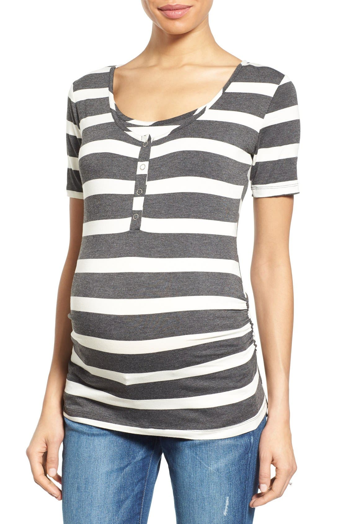 NOM MATERNITY Ruched Nursing/ Maternity Tee