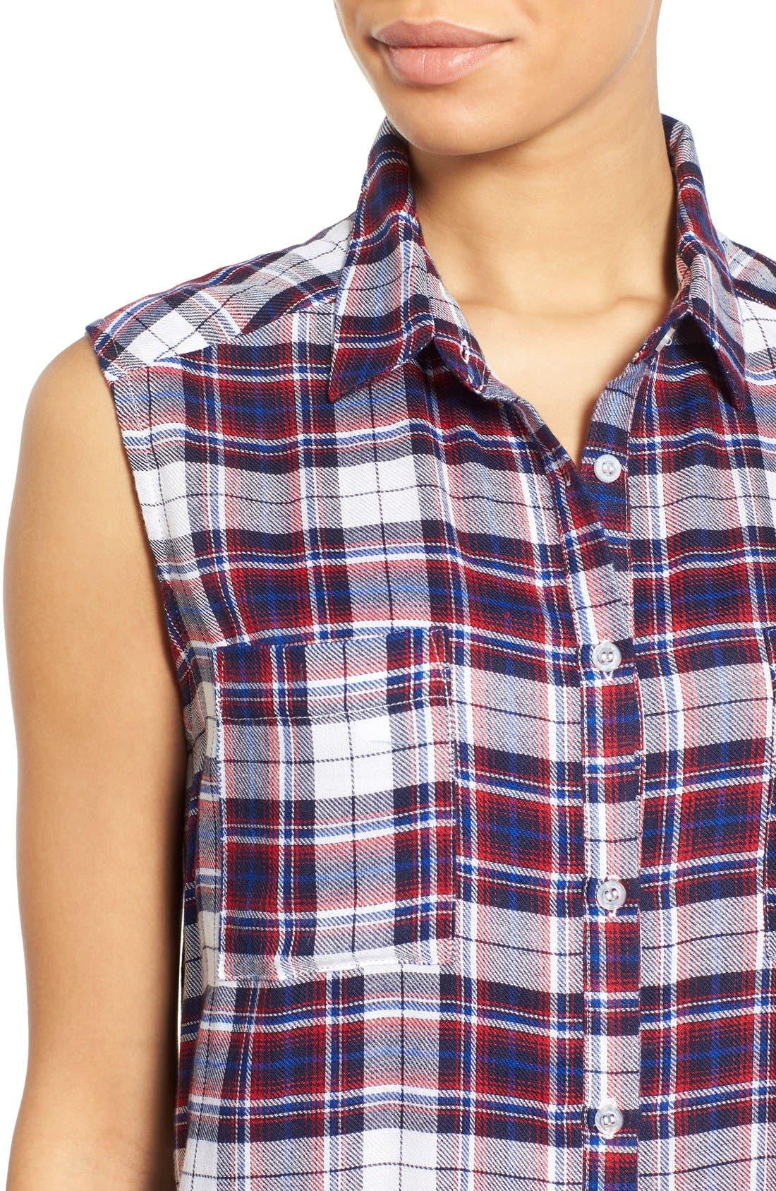 Alternate Image 4  - Bobeau Plaid Two Pocket Sleeveless Tunic Shirt