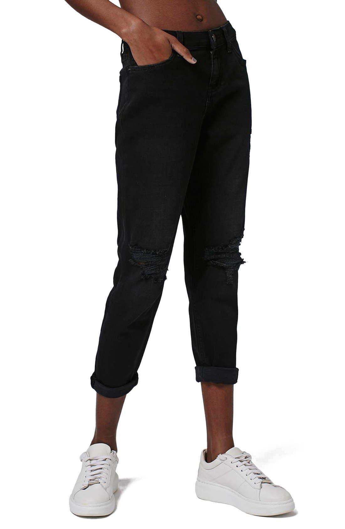 Alternate Image 1 Selected - Topshop 'Lucas' Ripped Boyfriend Jeans (Petite)