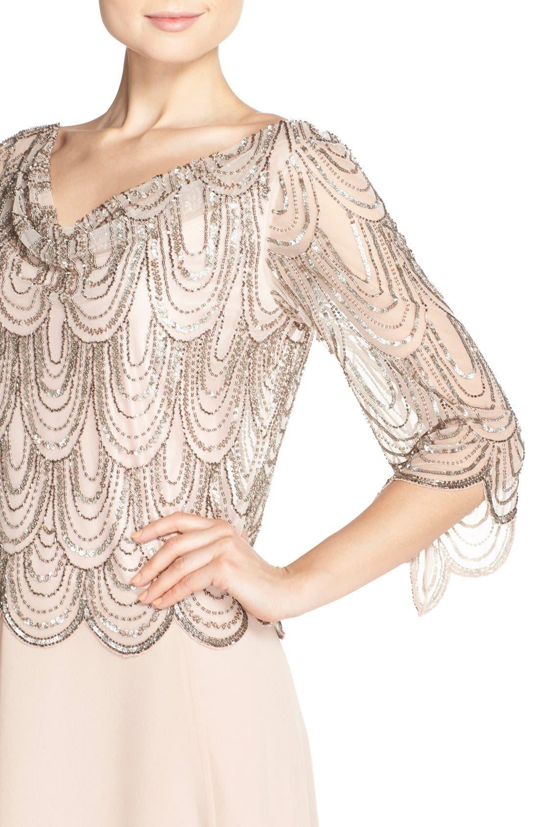 Alternate Image 4  - J Kara Scallop Embellished Popover Gown