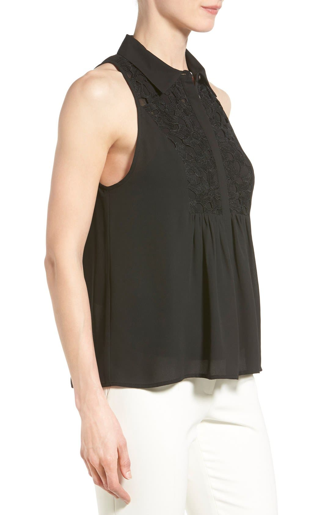 Alternate Image 3  - Vince Camuto Lace Trim Sleeveless Blouse