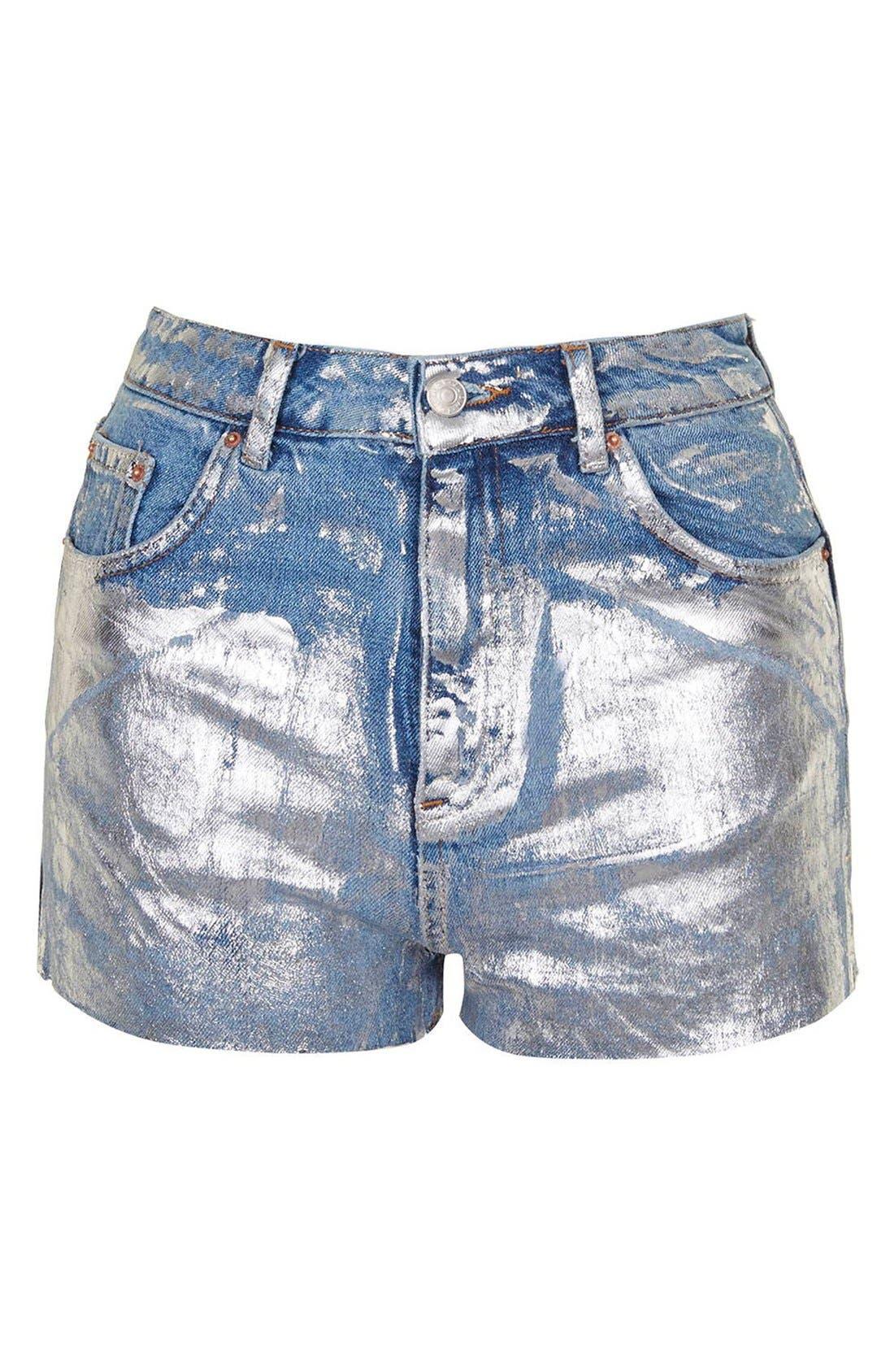 Alternate Image 4  - Topshop Moto Metallic Paint Cutoff Mom Shorts