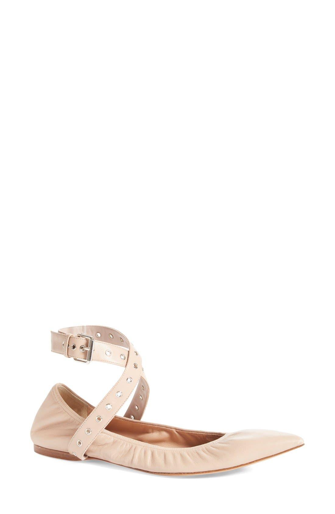 Valentino 'Love Latch' Pointy Toe Flat (Women)