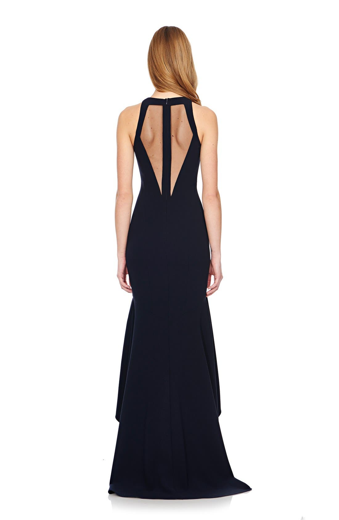 Alternate Image 2  - Theia High/Low Stretch Crepe Gown