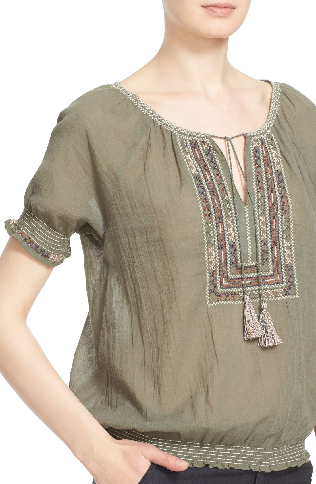 Alternate Image 4  - Joie 'Feray' Split Neck Embroidered Cotton Top