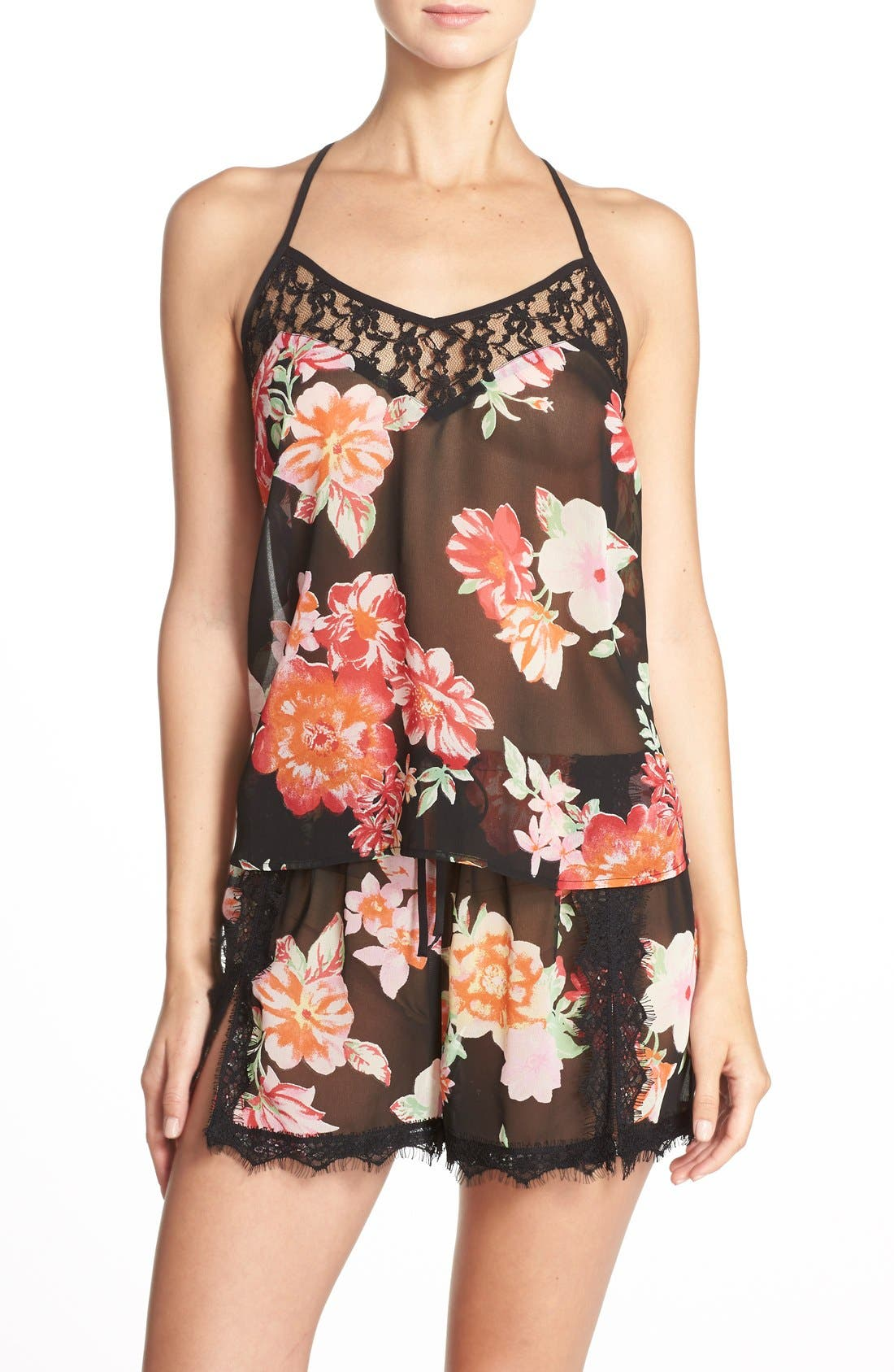Main Image - Band of Gypsies Racerback Floral Chiffon Camisole